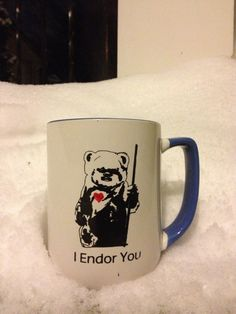 Special edition Star Wars Ewoks Return of the Jedi inspired Heart Valentine or Anniversary Gift Affection Fan Art geek Coffee red heart mug...