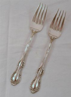 """Fine Arts Silver Co 2 Sterling Silver 1945 Southern Colonial Salad Forks 6 1/2"""" #sterlingsilver"""