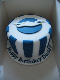 Brighton and Hove Albion cake Happy Birthday Daddy, Dad Birthday Cakes, 10th Birthday, Birthday Ideas, Brighton & Hove Albion Fc, Brighton And Hove, Brighton Rock, Shirt Cake, Retirement Cakes
