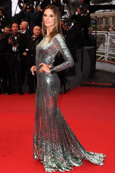 Alessandra Ambrosio. Silver sequin long sleeve dress by Roberto Cavalli. Cannes Film Festival, May 2013. Photo: Rex Features