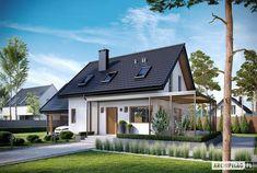 Projekt domu Lea II (z wiatą) - Projekty domów ARCHIPELAG - Lea II (z wiatą) - wizualizacja frontowa