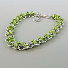 Barrel Weave Chainmail Bracelet Lime Green by HCJewelrybyRose