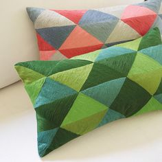 Embroidered Triangle Pillow Cover #serenaandlily #decorativepillow
