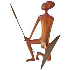 Karl Hagenauer Carved Wooden African Warrior   eBay