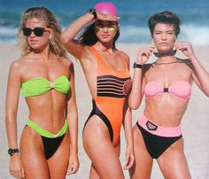 80s inspired swimwear shoot with neon colours, high rise bikini bottoms, wayferer style shades and a bright pink swimming cap. Why not? Vintage Bikini, Vintage Swimsuits, Women Swimsuits, Vintage Lingerie, 80s Swimsuit, One Piece Swimsuit, Donna Karan, 80s Fashion, Vintage Fashion