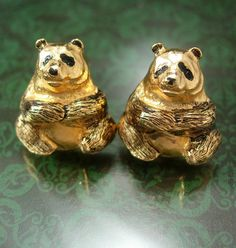 Vintage Panda Bear Cufflinks gold Animal by NeatstuffAntiques