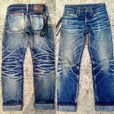 Worn for 10 months, 1 wash & 1 soak Faded Jeans, Blue Jeans, Denim Jacket Men, Denim Men, Denim Shirts, Edwin Jeans, Denim Fashion, Curvy Fashion, Street Fashion