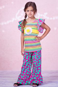Stripe Flutter Sleeve Top & Pant Set (Baby, Toddler, Little Girls, & Big Girls) by Jelly the Pug on @HauteLook