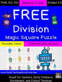 FREE Division Game Are you looking for a hands-on division activity? These Magic Square Puzzles are JUST THAT! Click the picture below to grab your free puzzle and see how much your students love these! Thanks for looking! HoJo 3-5 3rd grade 4th grade 5th grade dividing division HoJo Magic Squares math math centers math games math puzzles remediation math review