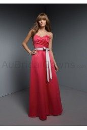 Satin Strapless Pleated Sweetheart Floor-length Bridesmaid Dress