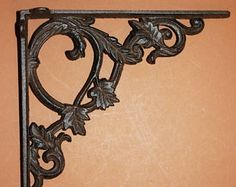 """13% OFF 2) elegant shelf brackets, vintage-look cast iron shelf brackets, 9 3/8"""" shelf brackets, elegant corbels,B-37 by wepeddlemetal. Explore more products on http://wepeddlemetal.etsy.com"""