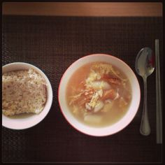 A combination of Korean hang-over soup and Korean new year's rice cake soup