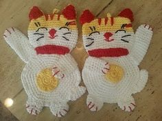 Helenmay Crochet Easy Lucky Cat Pot-holder Hot Pad DIY Tutorial
