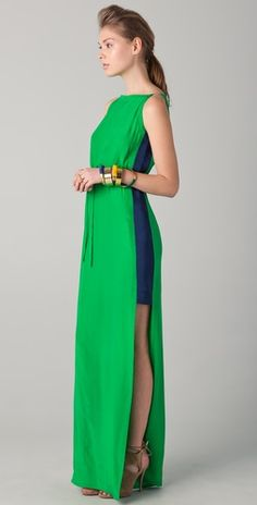 Dramatic:  Yigal Azrouel - Drawstring Maxi Dress with Open Sides