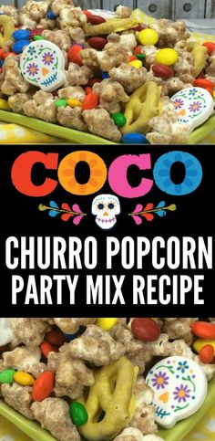 Coco Party Churro Popcorn Recipe Remember Me with this Pixar COCO Churro Popcorn Recipe. A great party idea for your next Coco Party or Coco Movie Night! You can even make it for your Oscars viewing party since Coco is up for Best Animated Feature! Party Popcorn Recipes, Party Mix Recipe, Party Snacks, Movie Night Snacks, Movie Night Party, Movie Nights, Oscar Party, Team Mom, Churros