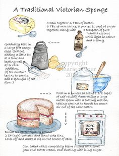 A Traditonal Victorian Sponge Recipe Kitchen Print via Etsy Old Recipes, Vintage Recipes, Baking Recipes, Dessert Recipes, Sponge Recipe, Sponge Cake Recipes, Victorian Recipes, Recipe Drawing, Victoria Sponge Cake