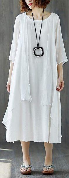 224c202afe2 boutique maxi dress stylish Short Sleeve Summer Casual White Fake Two-piece  Long Dress