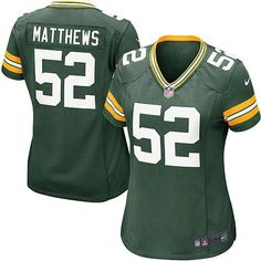 e48a4f4ab New Women s Green Nike Game Green Bay Packers  52 Clay Matthews Team Color  NFL Jersey