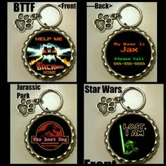 Custom-Pet ID Tag-Star Wars-Transformers-Jurassic Park-Dog Tags-Cat Tags-Pet Tags-Back To The Future-Funny Tags-w/Free Charm -silver tone by PawzitiveIDs on Etsy https://www.etsy.com/listing/245125905/custom-pet-id-tag-star-wars-transformers