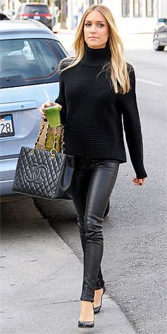 KRISTIN CAVALLARI Two rules for wearing all black: Play with textures (KCav selects a boxy ribbed Helmut Lang sweater) and opt for at least one formfitting piece (see: her leather Rag & Bone pants). Pop of color via green juice encouraged, but not required.