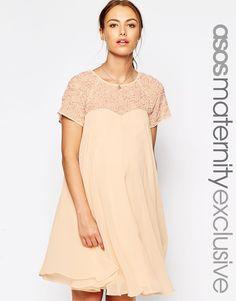 Image 1 ofASOS Maternity Swing Dress With Embellished Top
