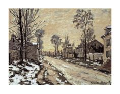 Road at Louveciennes, Melting Snow, Sunset by Claude Monet