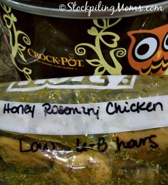 Crockpot Honey Rosemary Chicken is tasty served alone or on top of rice. This is a great freezer meal recipe!