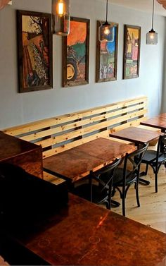 Restaurant copper tables with patina finish