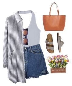 farmers market. by gre17 on Polyvore featuring Topshop, Birkenstock, Mansur Gavriel and Thierry Lasry