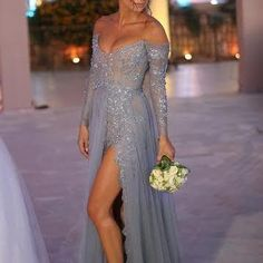 Grey Tulle Sexy Evening Dre..