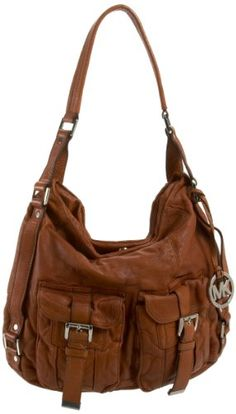 """$448.00 Handbags  Michael Kors Princeton Luggage Leather Shoulder Hobo Handbag - Michael Kors Princeton Large shoulder tote handbag made from brown distressed washed leather (color: """"Luggage"""") with single shoulder strap. Bag is finished with silver toned hardware, including logo charm. Beige MK signature logo jacquard cloth lining. http://www.amazon.com/dp/B004W3VZSW/?tag=pin0ce-20"""