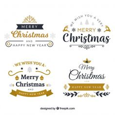 Pack of elegant christmas stickers Free Vector Merry Christmas Background, Merry Christmas Banner, Christmas Card Template, Merry Christmas Greetings, Christmas Labels, Christmas Tree Design, Christmas Frames, Christmas Stickers, Merry Christmas And Happy New Year
