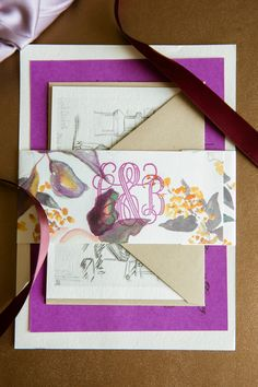 Wedding invitations, monogram, watercolors // Candace Jeffery Photography