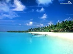 blue waters, white sand