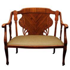 Art Nouveau Mahogany Settee