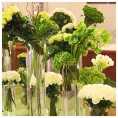 Tablescape of green and white blooms