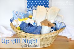Up All Night Gift Basket for Baby Showers- new parents will have some long nights ahead of them so why not help them out with some items to make the sleep-less nights a little easier