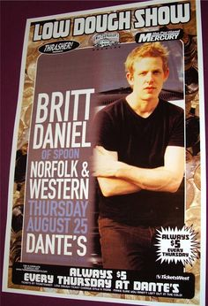 Spoon poster concert $9.84 #spoon Britt Daniel