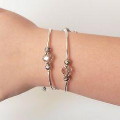 Memory Wire Bracelet Gray Crystal Bridesmaid by FiveLittleGems