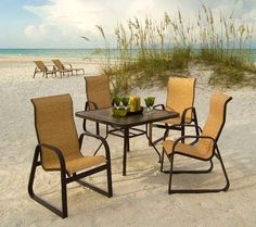 Cabo™ sling shown on one of our very own beautiful Sarasota beach! The sled bottom makes it a great options for soft areas like sand where as a chair leg might sink right in. Cabo, Sarasota Beach, Outdoor Furniture Sets, Outdoor Decor, Sled, Places To Go, Porch, Dining Chairs, Group