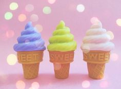 kawaii iwako eraser erasers ice cream cones cone purple green pink japan japanese sweet