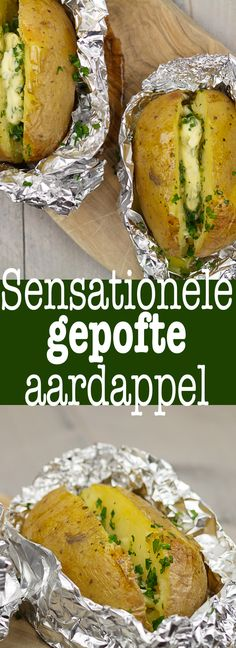 Gepofte aardappel Different Recipes, Other Recipes, Real Food Recipes, Cooking Recipes, Healthy Recipes, Tapas, Food Porn, Side Dishes For Bbq, Good Food