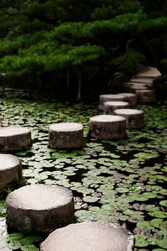 Stepping Stones at Heian Shrine garden, Kyoto, Japan