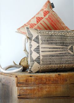 Textiles via live from IKEA FAMILY via Joy Cho / Oh Joy! (Hand Printed Pillow - by Bark Decor)