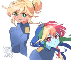 Applejack and Rainbow Dash human Mlp My Little Pony, My Little Pony Friendship, My Little Pony Drawing, Multicolored Hair, Little Poni, Mlp Characters, Equestrian Girls, Bubbline, Cartoon Movies