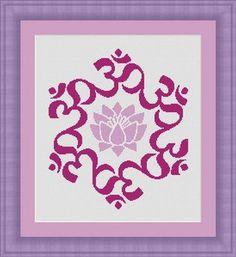 OM LOTUS meditation zen  symbol- Counted cross stitch pattern /grille point de croix , PDF, Instant download