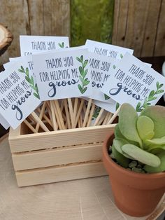 Thank You For Helping Me Grow - Favor Tag from a Rustic Garden Birthday Party on Kara's Party Ideas Succulent Party Favors, Garden Party Favors, Kid Party Favors, Graduation Party Favors, Garden Party Themes, Party Favor Tags, First Birthday Parties, Birthday Party Themes, First Birthday Favors