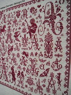 A Sampler - Marquoir rouge au point de croix de Clorami Designs. www.clorami-designs.be