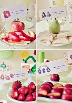 Love this for Avry's birthday party. Time to jazz up the Very Hungry Caterpillar with a fruit stamping book. I'm thinking I'll make a simplified version of the text, and then the kiddos can use fruit that's cut in half to stamp what he ate. They'll LOVE it!