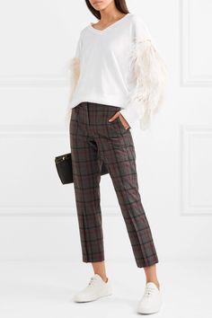 Brunello Cucinelli | Feather-trimmed cotton sweater | NET-A-PORTER.COM